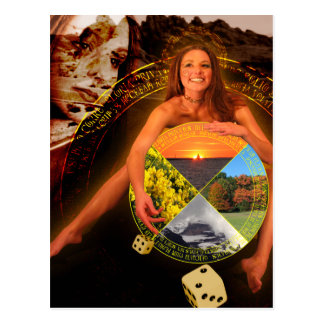 The Wheel of Fortune Tarot Card Art Postcard