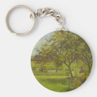 The Wheelbarrow, Orchard by Camille Pissarro Key Chain