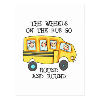 THE WHEELS ON THE BUS POSTCARD