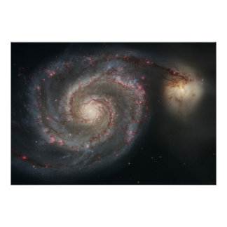 The Whirlpool Galaxy and Companion Poster