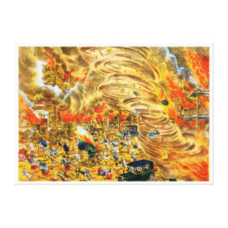 The whirlwind of fire attacked Yoshiwara street Canvas Print