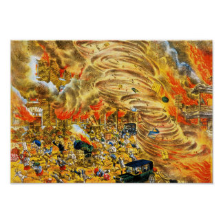 The whirlwind of fire attacked Yoshiwara street Poster