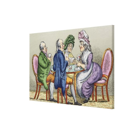The Whist Party (colour litho) Stretched Canvas Print