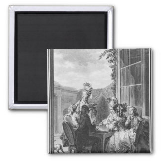 The whist party, engraved by Jean Dambrun  1783 Refrigerator Magnet