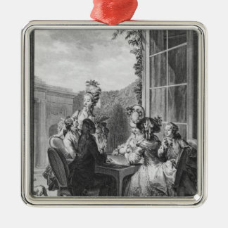 The whist party, engraved by Jean Dambrun  1783 Metal Ornament