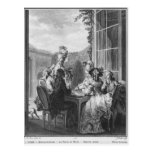 The whist party, engraved by Jean Dambrun  1783 Postcard