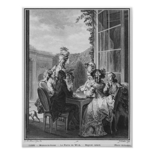 The whist party, engraved by Jean Dambrun  1783 Poster