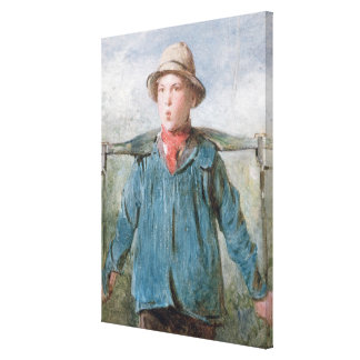 The Whistling Farm-Hand, 19th century (w/c and bod Canvas Print