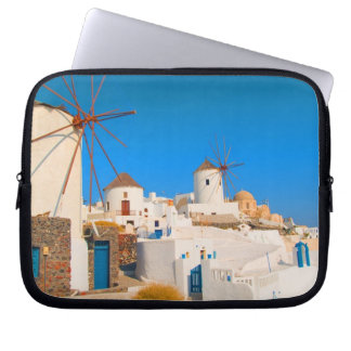 The white buildings and the windmills on the computer sleeve