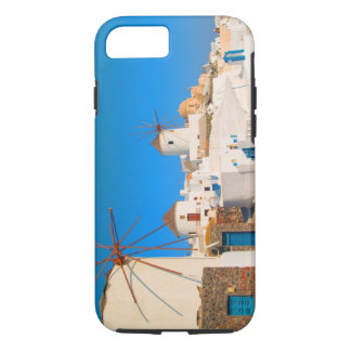 The white buildings and the windmills on the iPhone 7 case