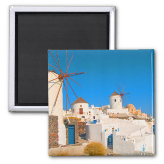 The white buildings and the windmills on the magnet