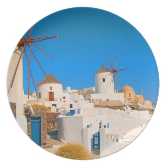 The white buildings and the windmills on the melamine plate