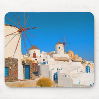 The white buildings and the windmills on the mouse pad