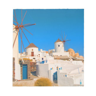 The white buildings and the windmills on the notepad
