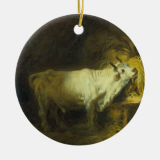 The White Bull in the Stable (oil on canvas) Ceramic Ornament