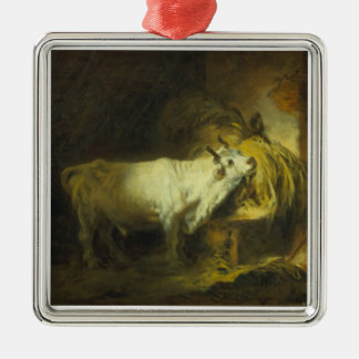 The White Bull in the Stable (oil on canvas) Metal Ornament