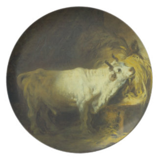 The White Bull in the Stable (oil on canvas) Party Plate