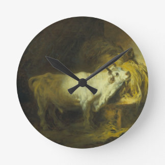 The White Bull in the Stable (oil on canvas) Round Clock