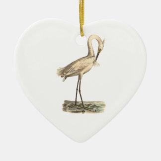 The White-crested Heron(Ardea candidissima) Ceramic Ornament