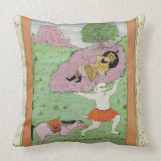 The White Demon carrying off the sleeping Rustam, Throw Pillow