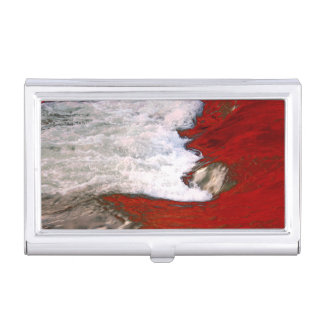 The white foam stops to the red lava river business card case