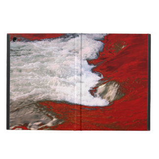 The white foam stops to the red lava river iPad air cover