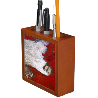 The white foam stops to the red lava river Pencil/Pen holder