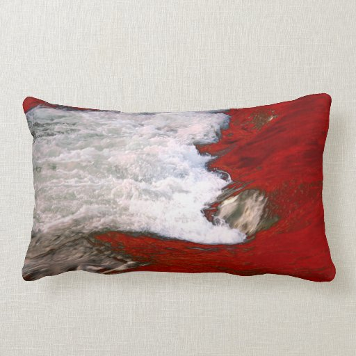 The white foam stops to the red lava river throw pillows