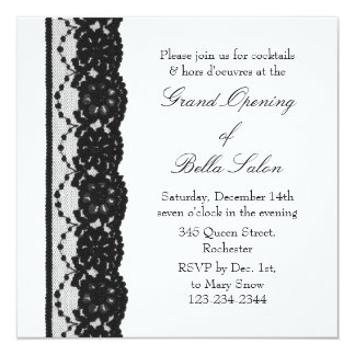 The White Grand Opening French Lace Invitation