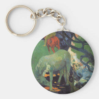 The White Horse by Paul Gauguin Basic Round Button Keychain