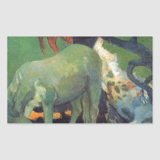 The White Horse by Paul Gauguin Rectangular Sticker
