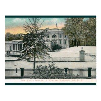 The White House in Winter, Washington DC Vintage Postcard