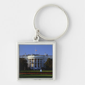 The White House Silver-Colored Square Keychain