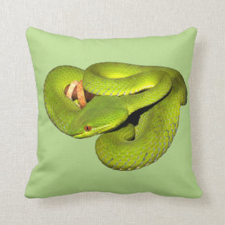 The white-lipped pit viper throw pillow
