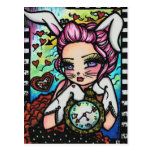 The White Rabbit  Alice Fairy Fantasy Art Girl Postcard