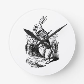 The White Rabbit and Pocket Watch Round Clock