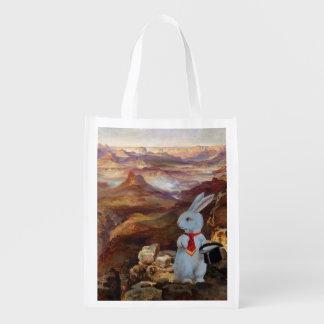 The White Rabbit at the Grand Canyon Reusable Bag Reusable Grocery Bag