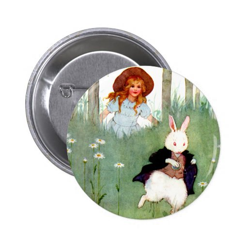 THE WHITE RABBIT BECKONS ALICE TO FOLLO HIM PINS