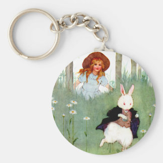 THE WHITE RABBIT BECKONS ALICE TO FOLLO HIM KEYCHAIN