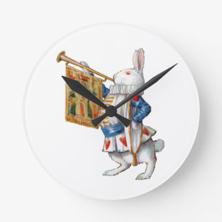 The White Rabbit Blows the Trumpet In Wonderland Wall Clocks