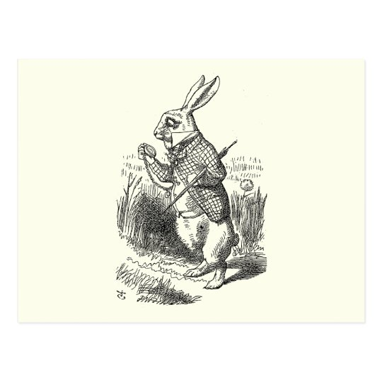 The White Rabbit Checks His Watch Postcard