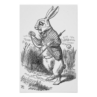 The White Rabbit Checks His Watch Poster