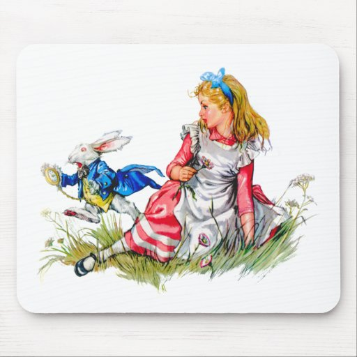 THE WHITE RABBIT DASHES BY ALICE MOUSE PADS