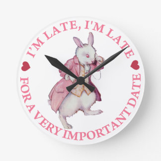 The White Rabbit From Alice in Wonderland Round Clock