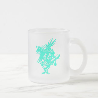 The White Rabbit in Blue Frosted Glass Coffee Mug