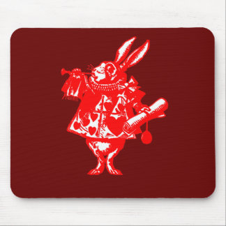 The White Rabbit in Orange Red Mousepads