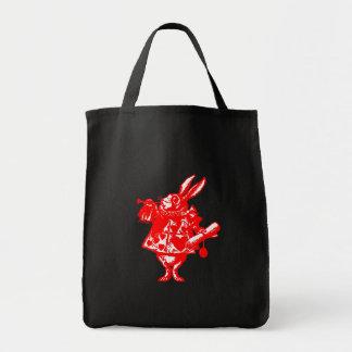 The White Rabbit in Orange Red Tote Bag