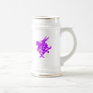 The White Rabbit in Pink Purple Beer Stein