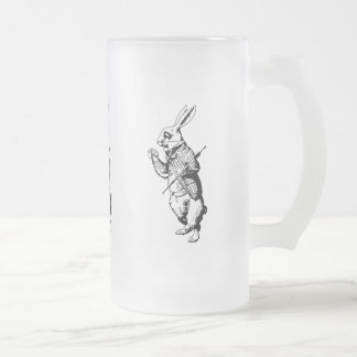 The White Rabbit - Inked Frosted Glass Beer Mug