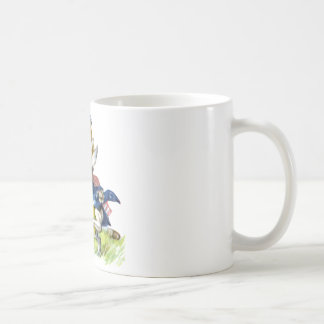 The white rabbit races by Alice Classic White Coffee Mug